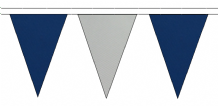 ROYAL BLUE AND GREY TRIANGULAR BUNTING - 10m / 20m / 50m LENGTHS
